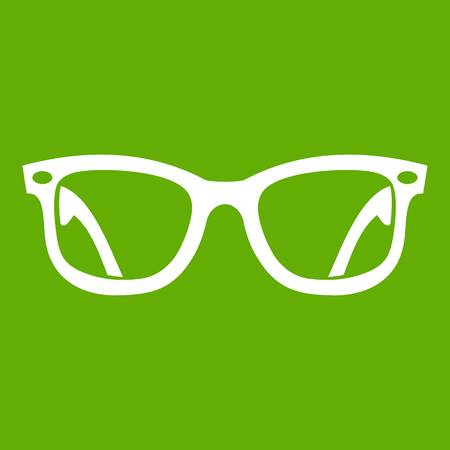 Eyeglasses icon white isolated on green background. Vector illustration