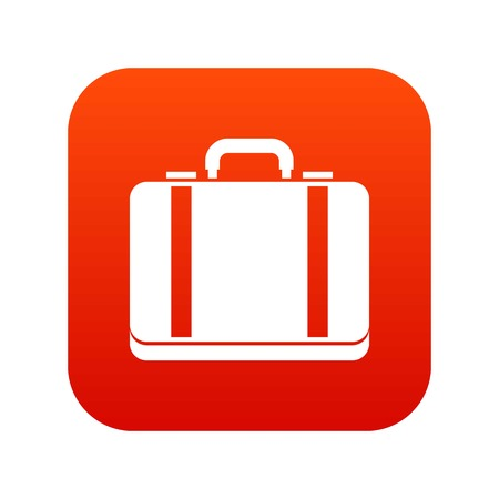 Suitcase icon digital red for any design isolated on white vector illustration Çizim