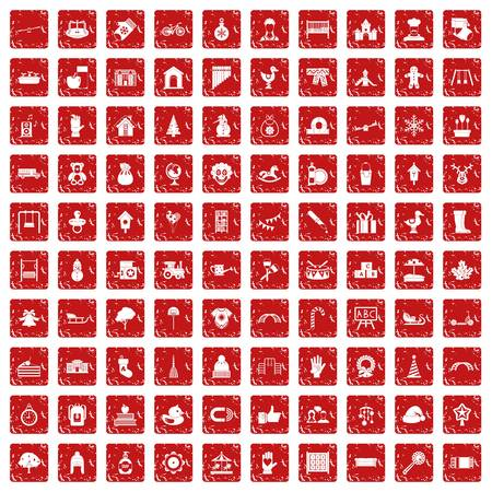 Pre-school icons set in grunge style red color isolated on white background vector illustration