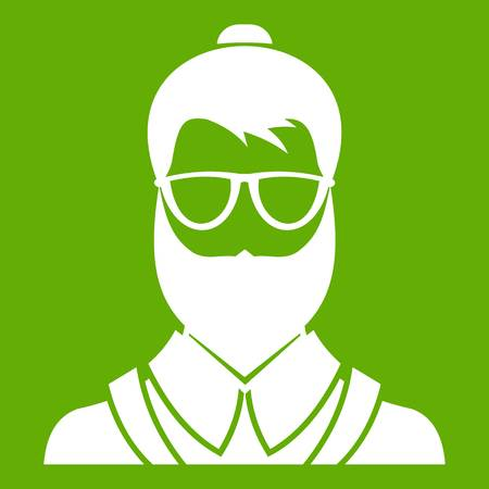 Hipsster man icon white isolated on green background. Vector illustration
