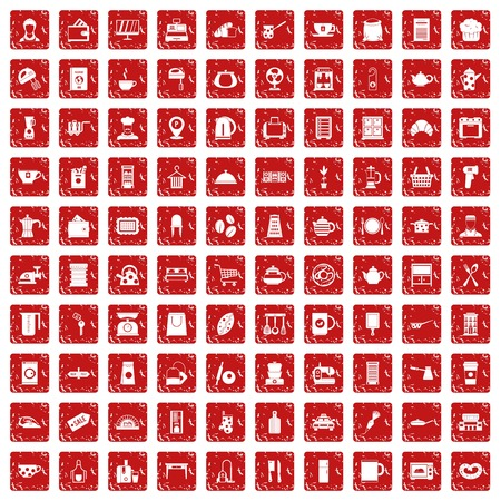 100 kitchen utensils icons set in grunge style red color isolated on white background vector illustration 向量圖像