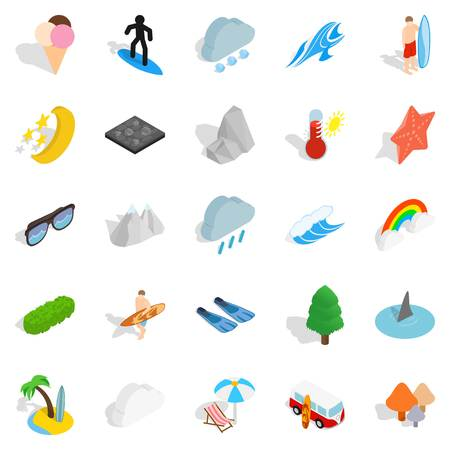 Water hangout icons set. Isometric set of 25 water hangout vector icons for web isolated on white background