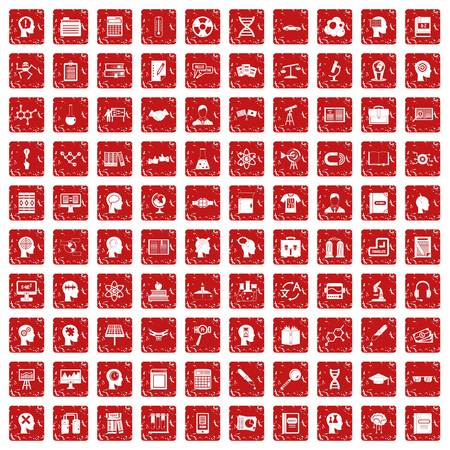 100 knowledge icons set in grunge style red color isolated on white background vector illustration