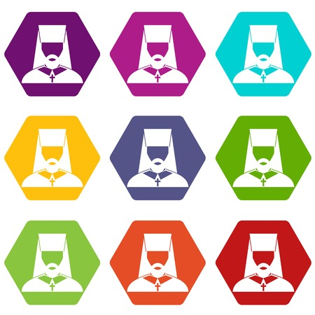 Orthodox priest icon set many color hexahedron isolated on white vector illustration
