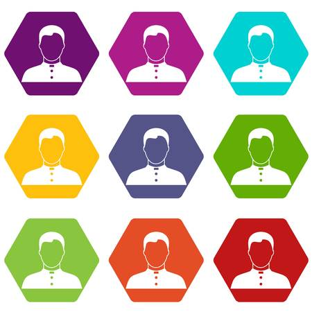 Pastor icon set many color hexahedron isolated on white vector illustration Illustration