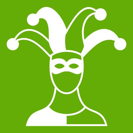 Jester icon white isolated on green background. Vector illustration Illustration