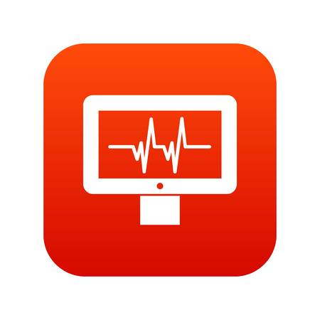 Electrocardiogram monitor icon digital red for any design isolated on white vector illustration