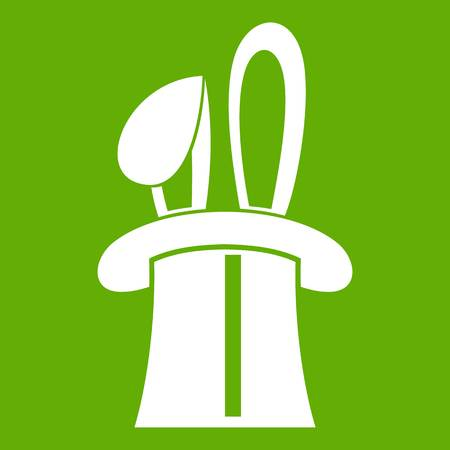 Rabbit appearing from a top magic hat icon white isolated on green background. Vector illustration Illustration