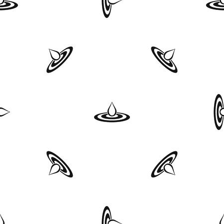 Water drop and spill pattern repeat seamless in black color for any design. Vector geometric illustration Çizim