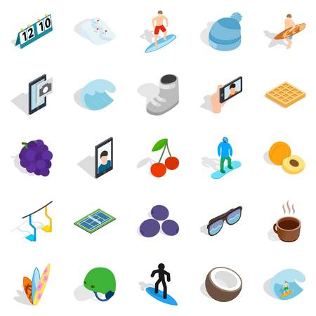 Effective icons set. Isometric set of 25 effective vector icons for web isolated on white background