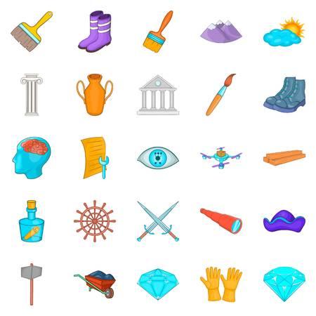 Iconos de Godsend establecidos. Conjunto de dibujos animados de 25 iconos de vector de regalo del cielo para web aislado sobre fondo blanco Foto de archivo - 90248825