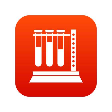 Medical test tubes in holder icon digital red for any design isolated on white vector illustration Stock Vector - 90248857