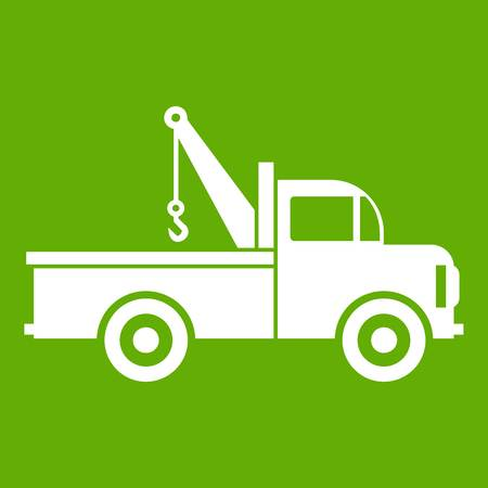 Car towing truck icon white isolated on green background. Vector illustration