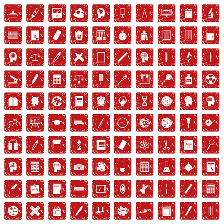 100 learning icons set in grunge style red color isolated on white background vector illustration Vectores