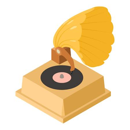 Gramophone icon. Isometric illustration of gramophone vector icon for web