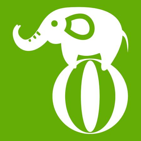 Elephant balancing on a ball icon white isolated on green background. Vector illustration Illustration