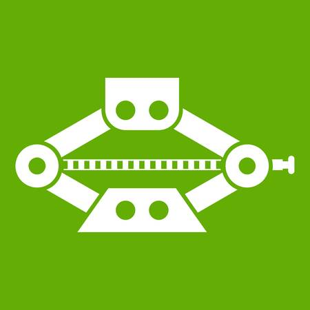 Red scissor car jack icon white isolated on green background. Vector illustration