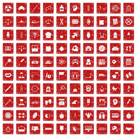 100 libra icons set in grunge style red color isolated on white background vector illustration
