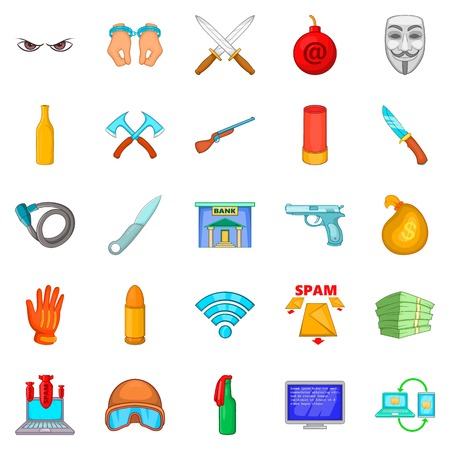 Offense icons set. Cartoon set of 25 offense vector icons for web isolated on white background Illustration