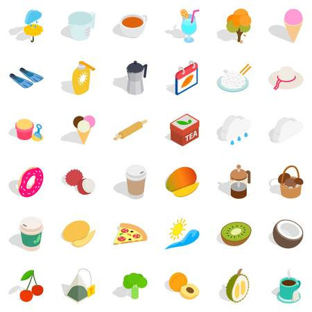 Infusion icons set. Isometric style of 36 infusion vector icons for web isolated on white background Illustration