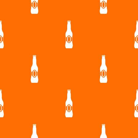 Bottle of beer pattern repeat seamless in orange color for any design. Vector geometric illustration Illustration