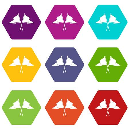 Two flags icon set many color hexahedron isolated on white vector illustration Illustration
