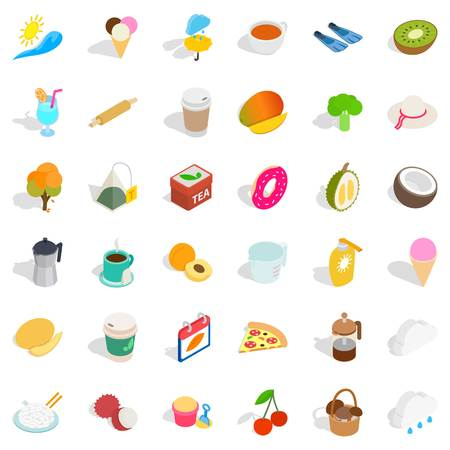 Coffee icons set. Isometric style of 36 coffee vector icons for web isolated on white background