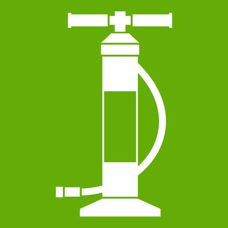 Hand air pump icon white isolated on green background. Vector illustration