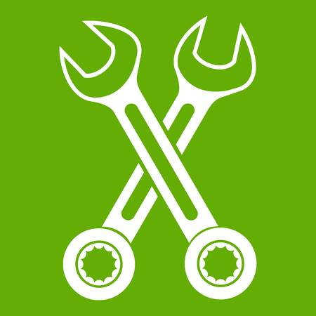 Crossed spanners icon white isolated on green background. Vector illustration