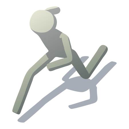 Stick man running icon. Isometric illustration of stick man running vector icon for web