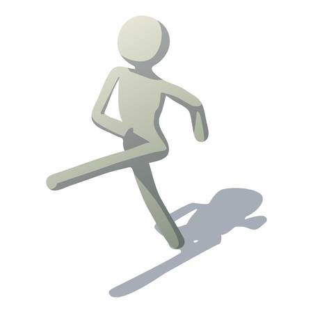 Stick man marching icon. Isometric illustration of stick man marching vector icon for web