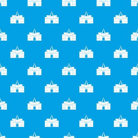 Residential mansion with towers pattern repeat seamless in blue color for any design. Vector geometric illustration Illusztráció