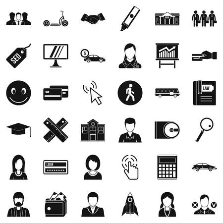Working icons set. Simple style of 36 working vector icons for web isolated on white background