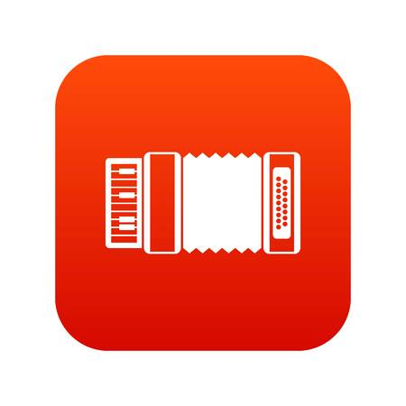 Accordion icon digital red for any design isolated on white vector illustration