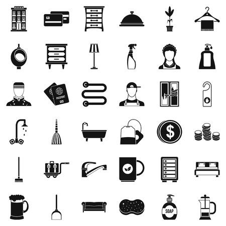 Ensemble d'icônes de service Inn. Style simple de 36 icônes vectorielles de service pour le web isolé sur fond blanc