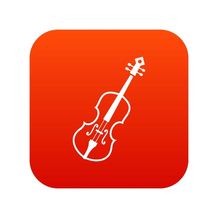 Cello icon digital red for any design isolated on white vector illustration