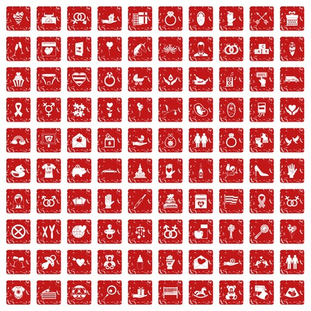 100 love icons set in grunge style red color isolated on white background vector illustration