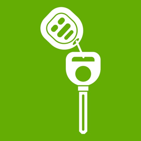 Car key with remote control icon white isolated on green background. Vector illustration Illustration