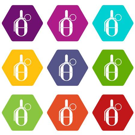 Hand paintball grenade icon set many color hexahedron isolated on white vector illustration