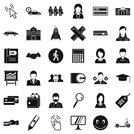 Business icons set. Simple style of 36 business vector icons for web isolated on white background