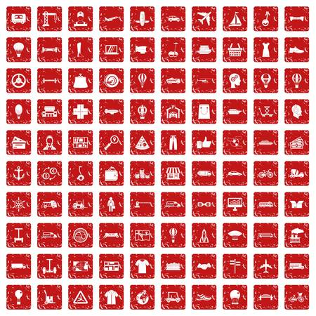 100 logistics icons set in grunge style red color isolated on white background vector illustration Vettoriali