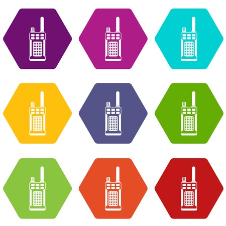 Portable handheld radio icon set many color hexahedron isolated on white vector illustration