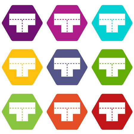 Tshaped crossroad icon set many color hexahedron isolated on white vector illustration Illustration