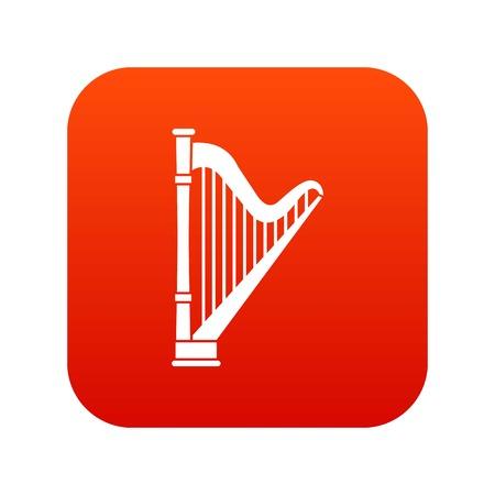 harpe icône rouge numérique pour toute conception isolé sur blanc illustration vectorielle Vecteurs