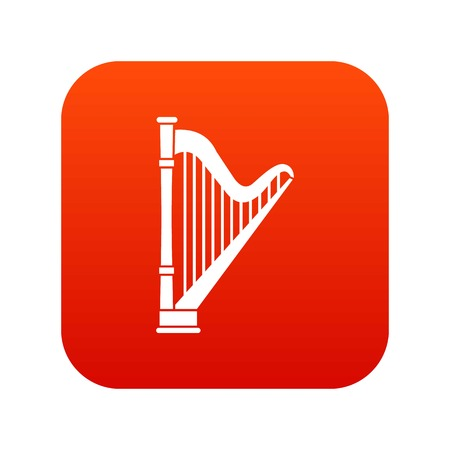 Harp icon digital red for any design isolated on white vector illustration Illustration
