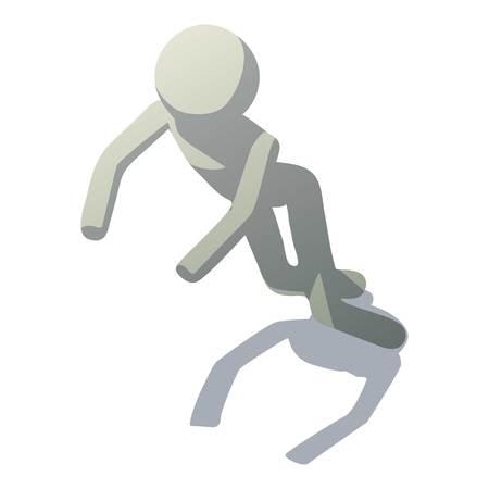 Stick man stumbling icon. Isometric illustration of stick man stumbling vector icon for web