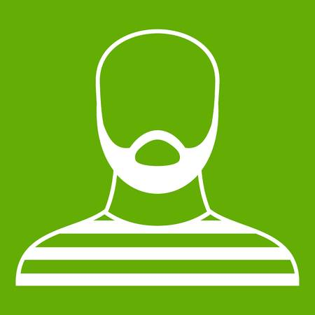 Bearded man in prison garb icon white isolated on green background. Vector illustration