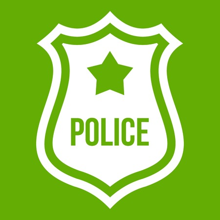 Police badge icon white isolated on green background. Vector illustration
