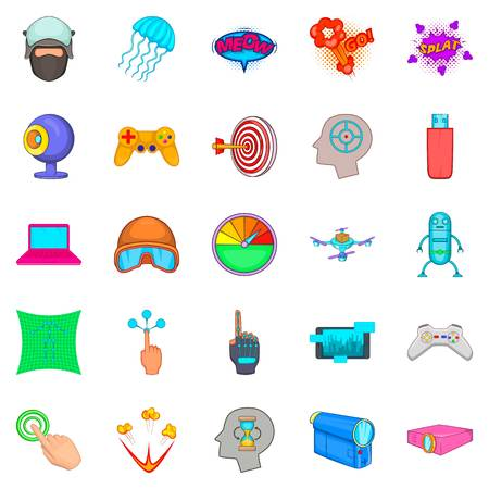 Virtual icons set, cartoon style Ilustrace