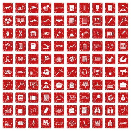 100 magnifier icons set grunge red